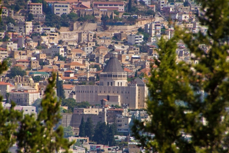 The Church of the Annunciation (center of picture) in modern Nazareth